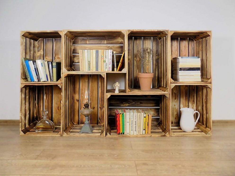 Dřevěná bedýnka KNIHOVNA 67x67x67cm - dřevěné bedýnky
