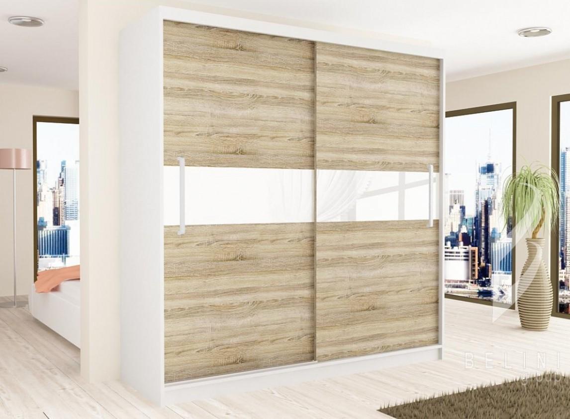 Designové šatní skříně 54 cm - posuvné dveře - ozdobný skleněný pás ...