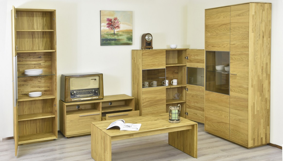 Obývací stěna - Výprodej - dub masiv - Nábytek Mirek