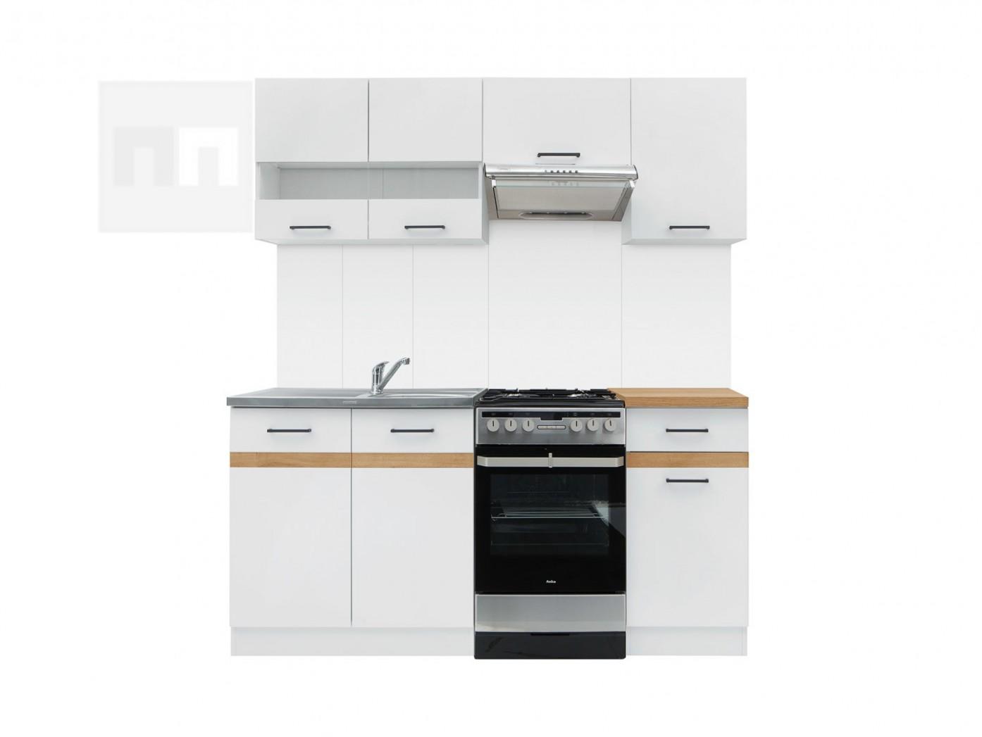 Kuchyňská linka 44 cm v kombinaci bílý lesk a dub zlatý W44 ...