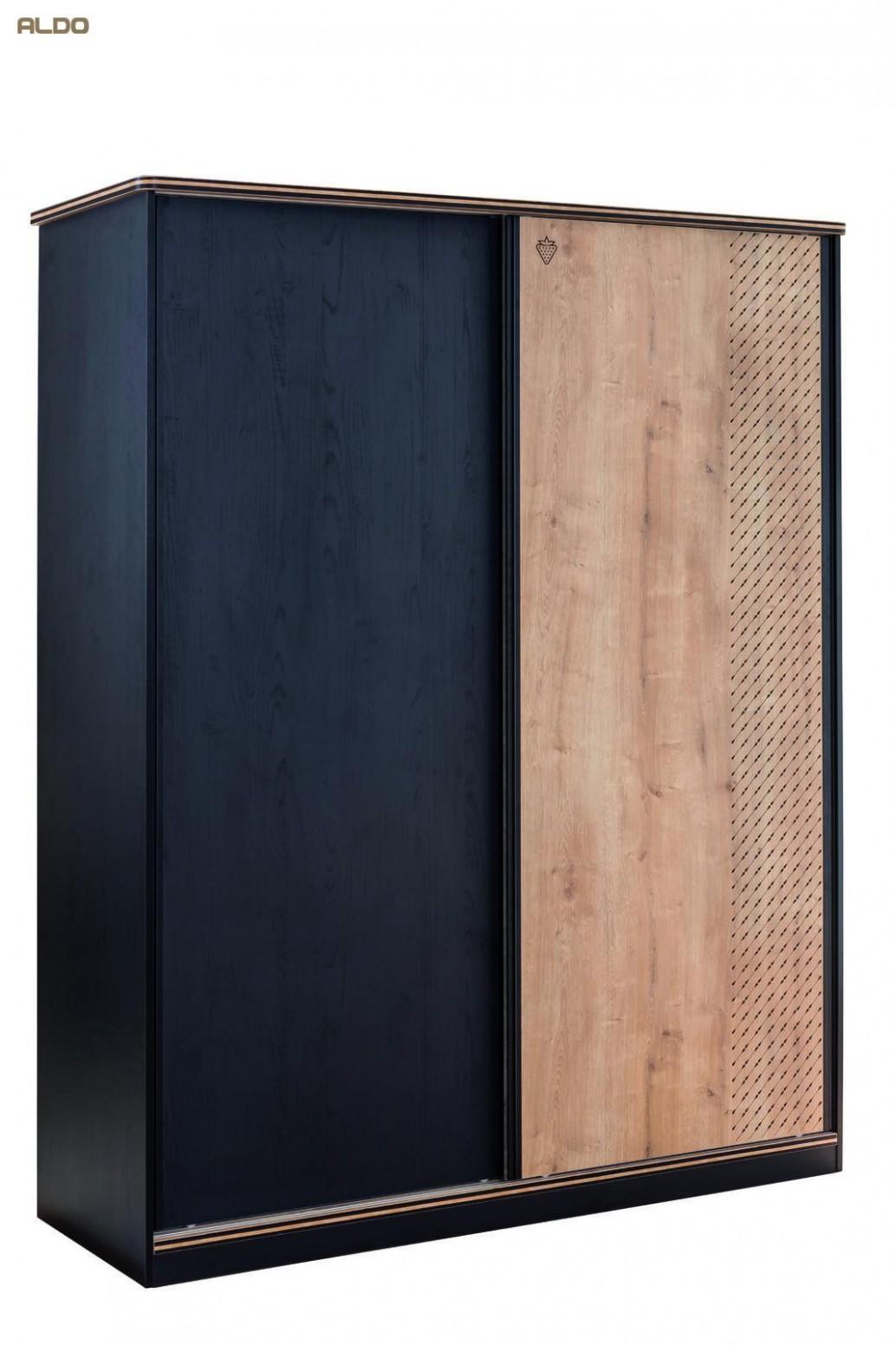 Prostorná šatní skříň s posuvnými dveřmi Black   Nábytek Aldo