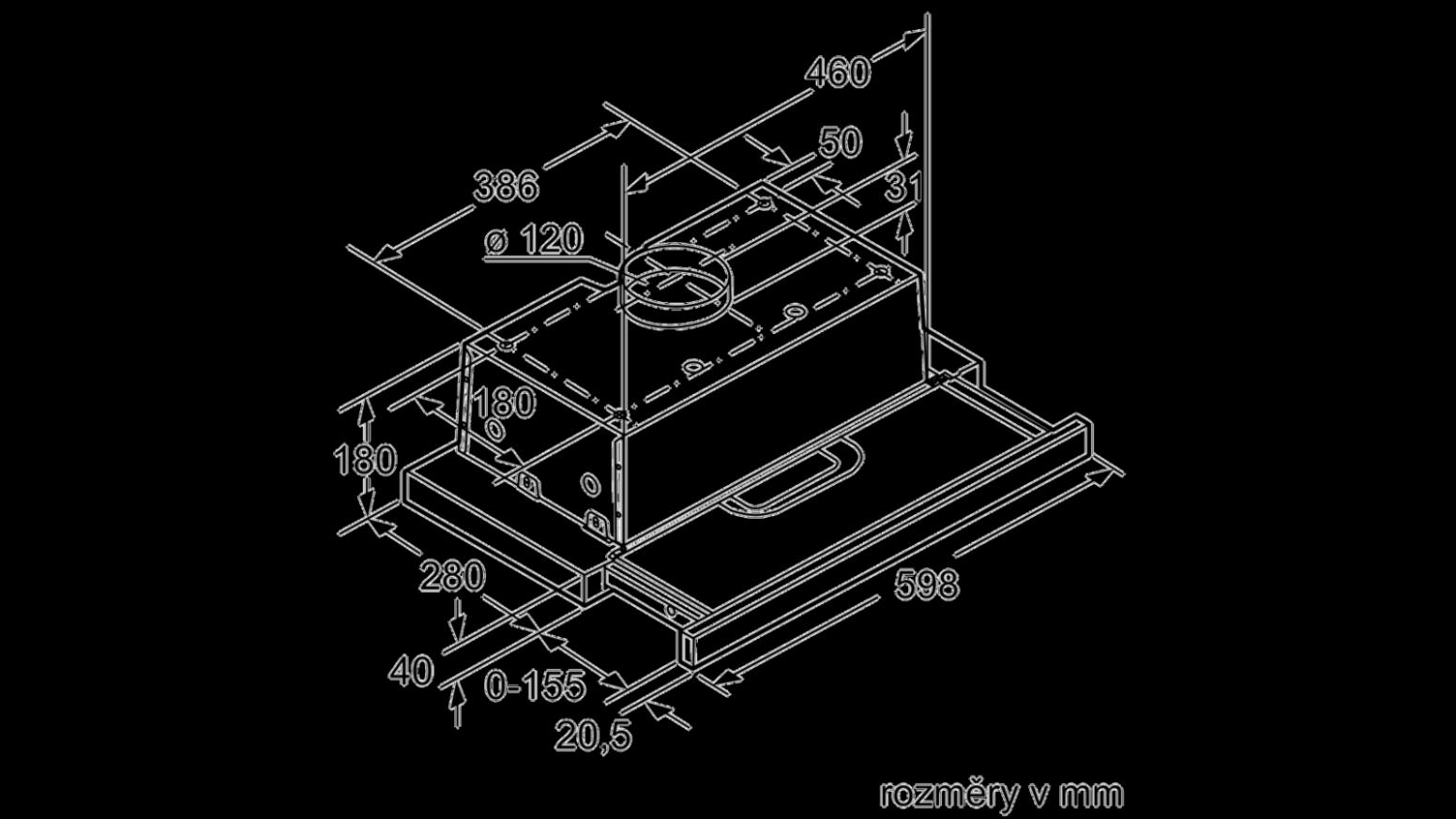 Plochý výsuvný odsavač par Bosch DFT68AC68 | e-shop Alin