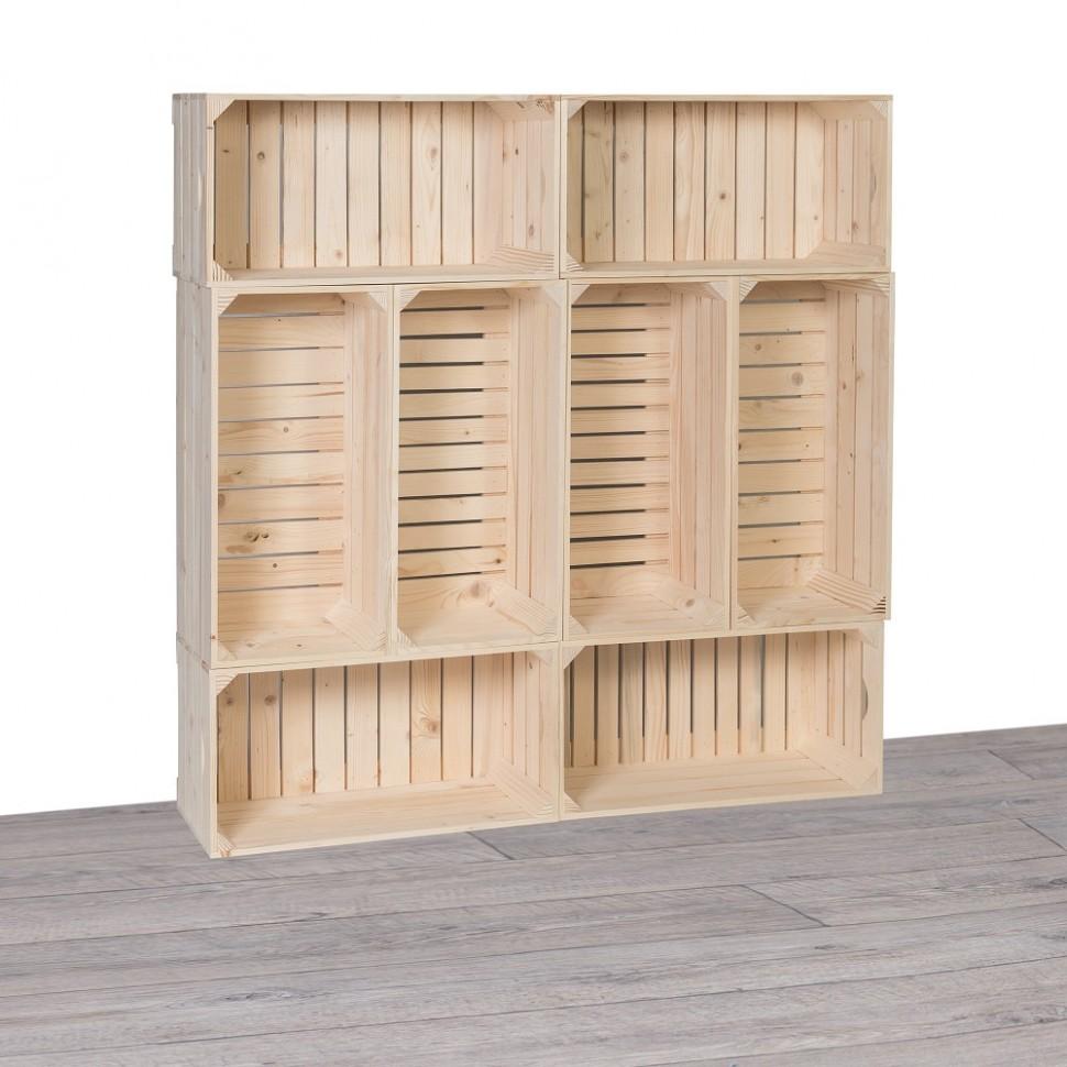 Dřevěné bedýnky knihovna 67x67x67 cm - Se srdcem