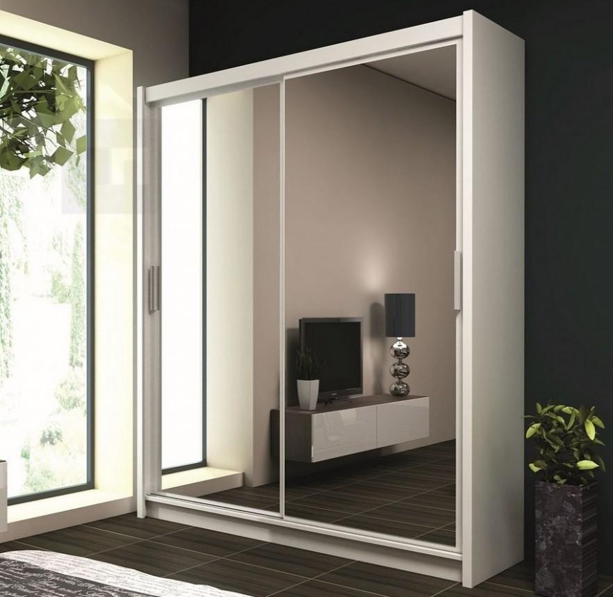 Moderní šatní skříň 54 cm s posuvnými dveřmi v bílé barvě KN54 ...