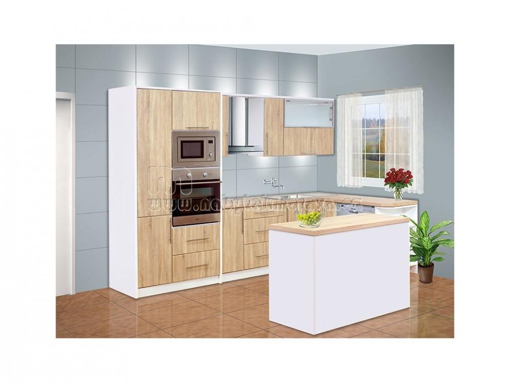 Moderní luxusní kuchyňská linka rohová s ostrůvkem
