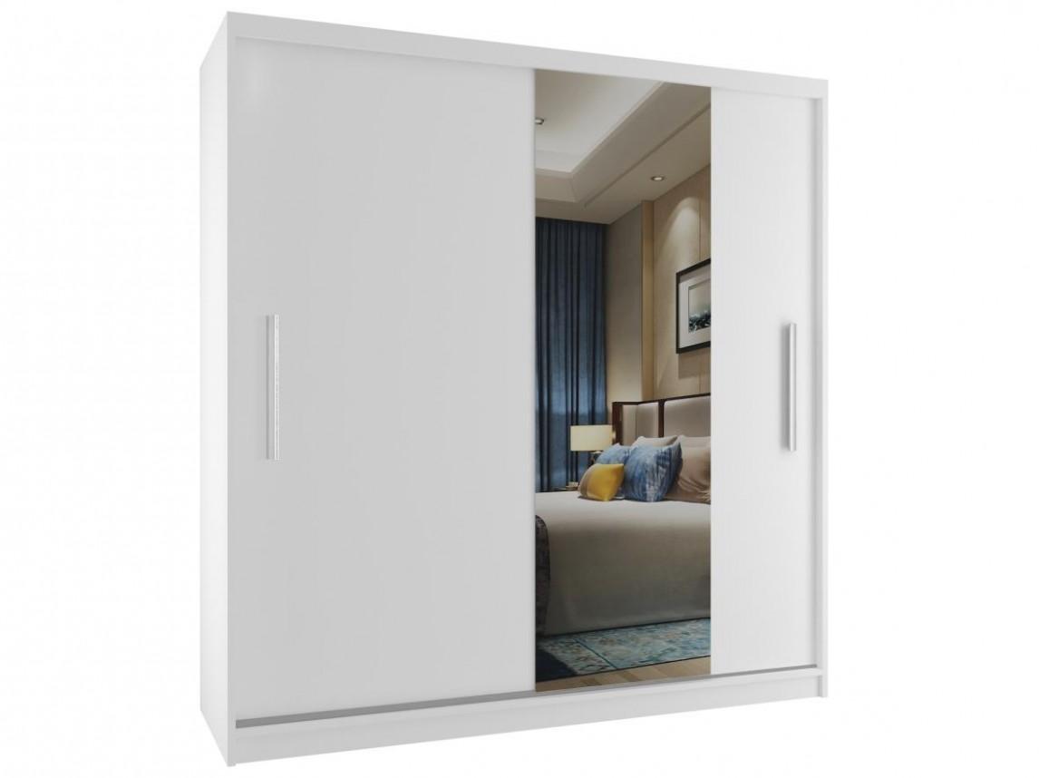 Luxusní šatní skříně se zrcadlem na posuvných dveřích - bílý korpus ...