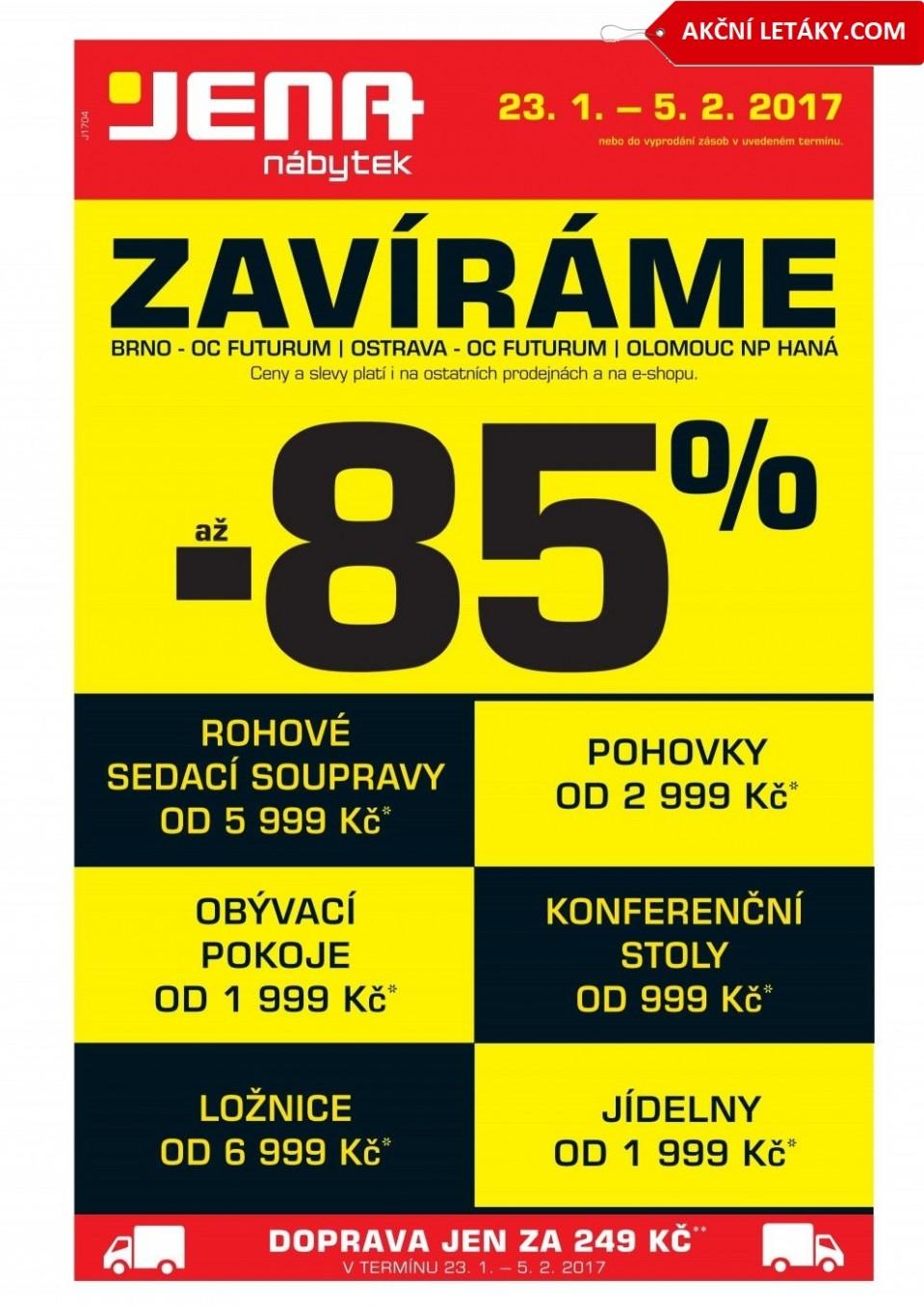 Jena nábytek leták od 67.67.670677 Výprodej Brno, Ostrava Olomouc 67/67