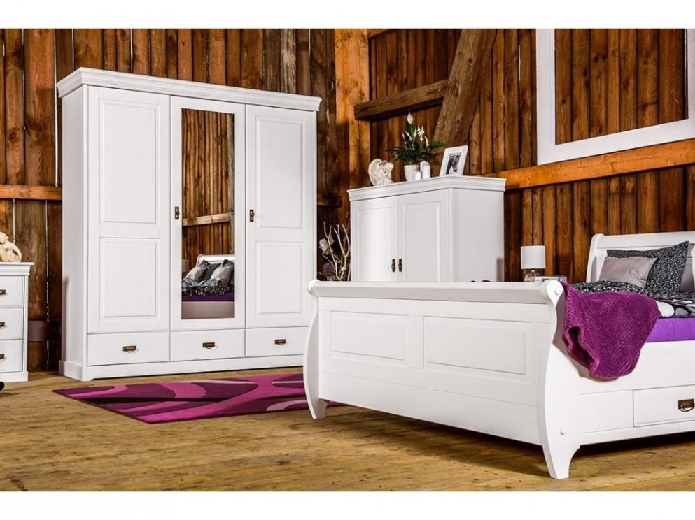 Šatní skříň 53D Toskania se zrcadlem a zásuvkami, bílá, masiv, borovice