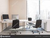 Broskvové Sady Office Interiér Betonovou Podlahou Řádky ..