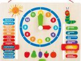 Dřevěné hodiny s kalendářem - Detské Hodiny