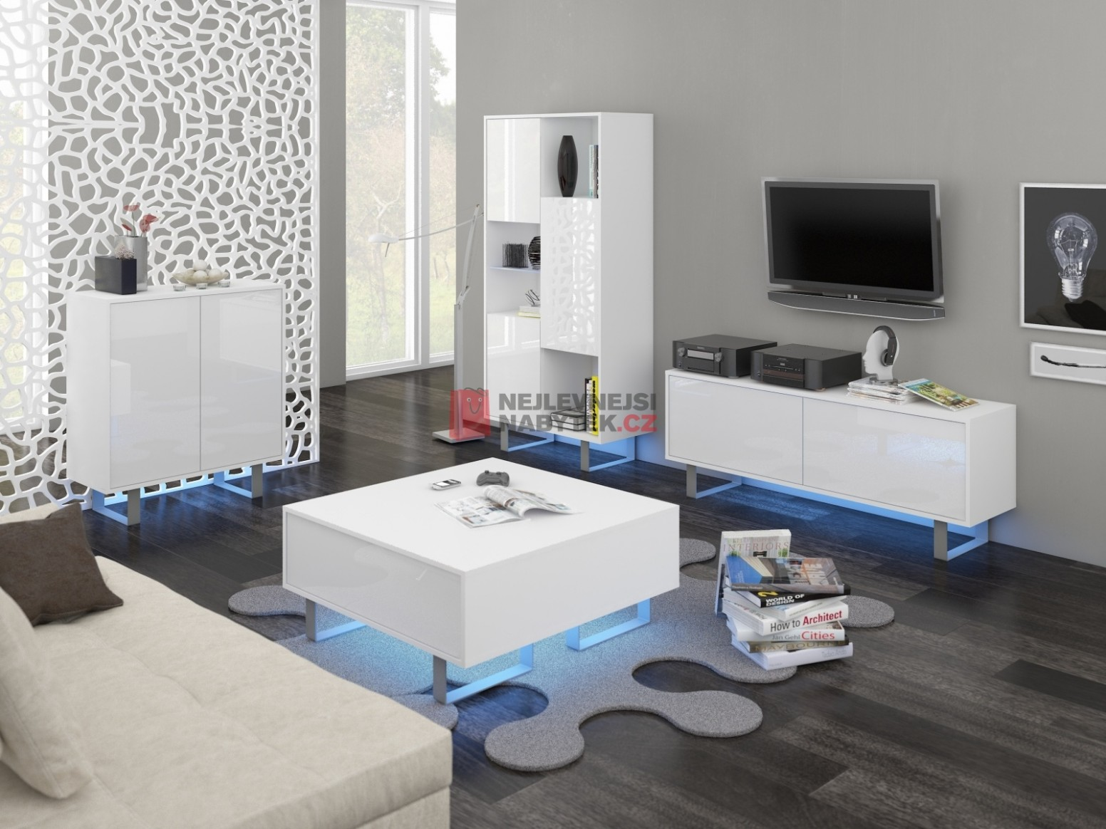 KING obývací pokoj - sestava 1, bílá/bílý leskHEADER_TITLE ...