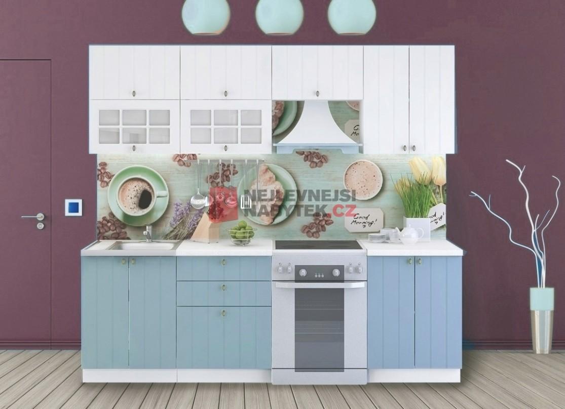Kuchyně PROVENCE 15/15 cm, bílá/světle modrá