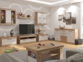 MAXIM obývací pokoj 14, dub sonoma/bílý lesk - Bílý Obývací Pokoj