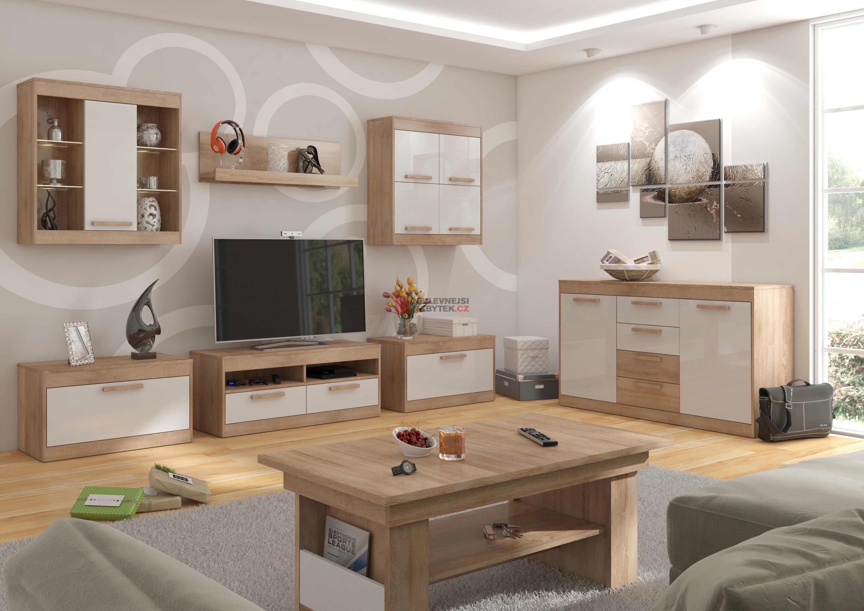 MAXIM obývací pokoj 14, dub sonoma/bílý lesk