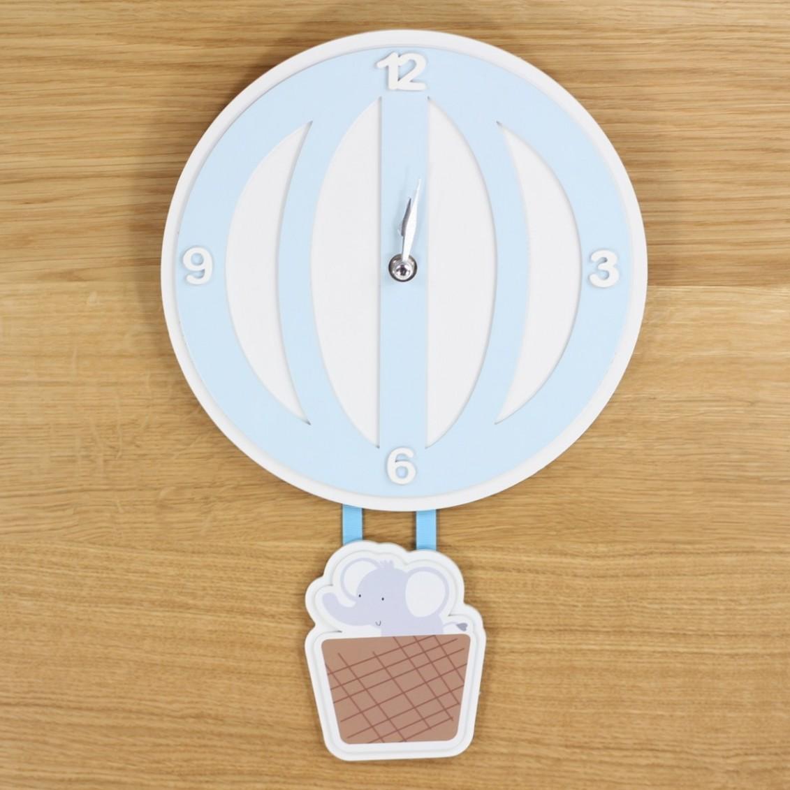 Nástěnné dětské hodiny Balón - modré
