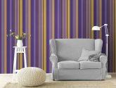 Tapety na zeď Apartmán proužek fialovo zlatá, En Suite ..