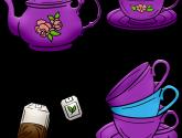 Tea Pot, Tea Cups, Stacked Cups, Tea Bag - Cajove Konvice