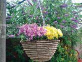 Závesný prútený kvetináč svetlý HB12RR - Závesný Kvetinác
