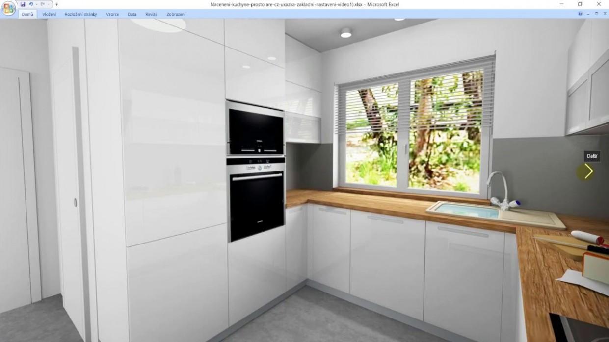 Nacenění kuchyně - ukázka spočítání kuchyně (bílá kuchyň v laku