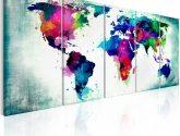Obraz na zeď - Barevná mapa světa | Tapety a dekorace pro ještě | Obrazy na zeď