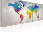 Pětidílné obrazy na stěnu barevná mapa světa - Obrazy na zeď
