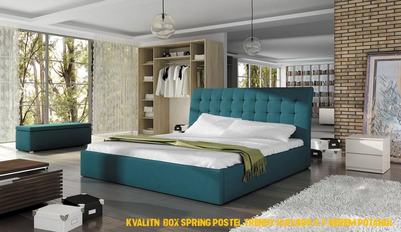 Kvalitní boxová pružina postel Trendy 160×200 s výběrem potahu!