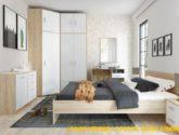 Ložnice BODO sonoma/bílá (skříň 4D4S, postel 4, 4ks n