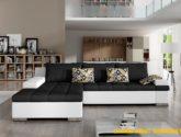 Luxusní sedací souprava Blanka - HIT 4 Roh: Orientace rohu Levý roh,  Potah MJN korpus: Potah na korpus Eko-kůže D-4 bílá , Potah MJN: Potah  Pytl