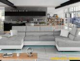 Luxusní sedací souprava Cannes s LED osvětlením, bílá/šedá