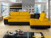Luxusní sedací souprava Cinnamon, černá/žlutá