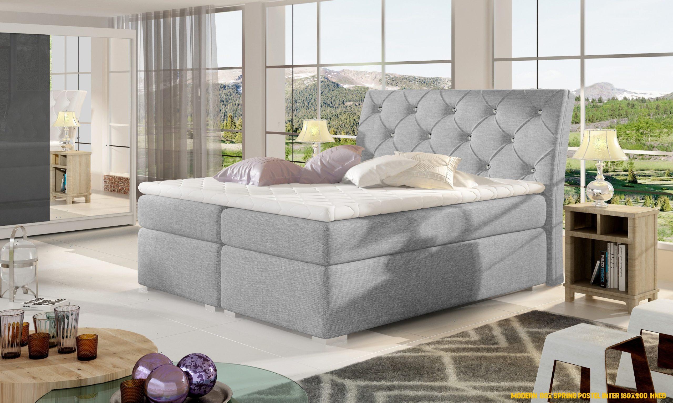 Moderní boxová pružina postel Inter 180×200, hnědá