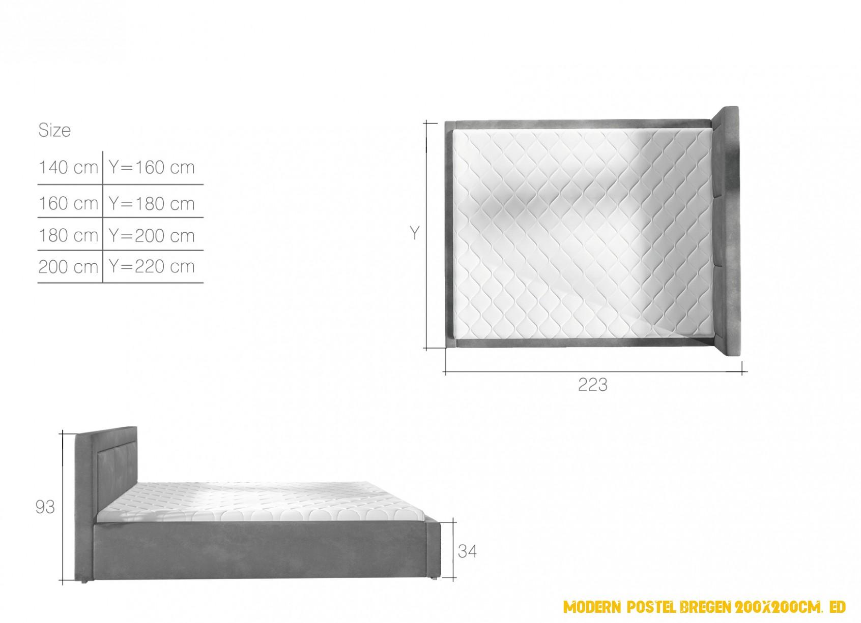 Moderní postel Bregen 4x4cm, bílá