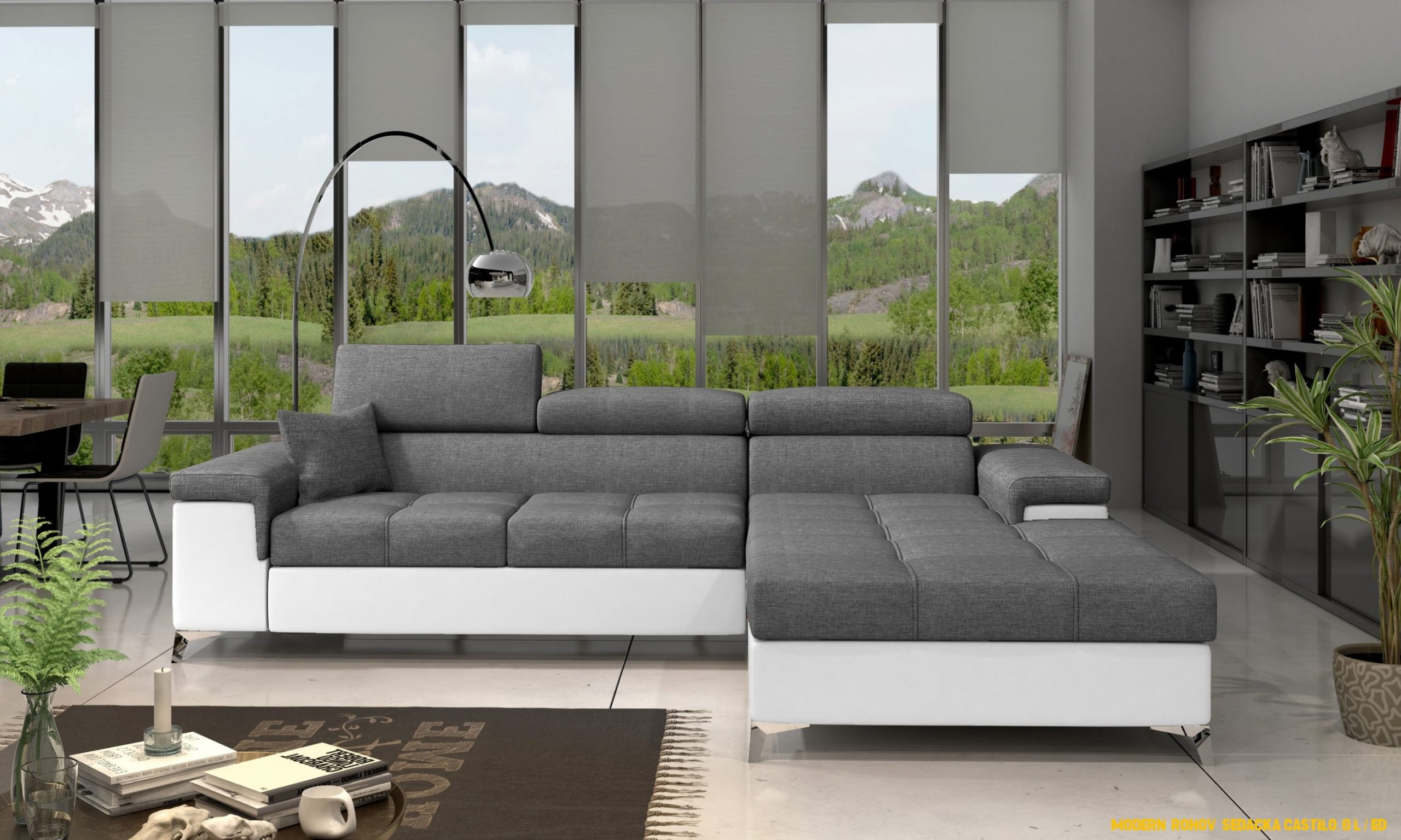 Moderní rohová sedacka Castilo, bílá / šedá