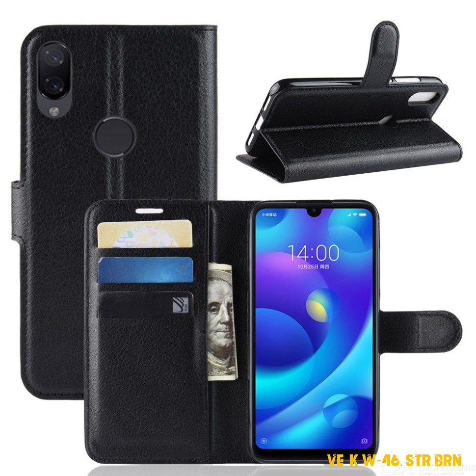 PU Leather Wallet Case Full Body Flip Phone Cover w/ Stand for Xiaomi Play