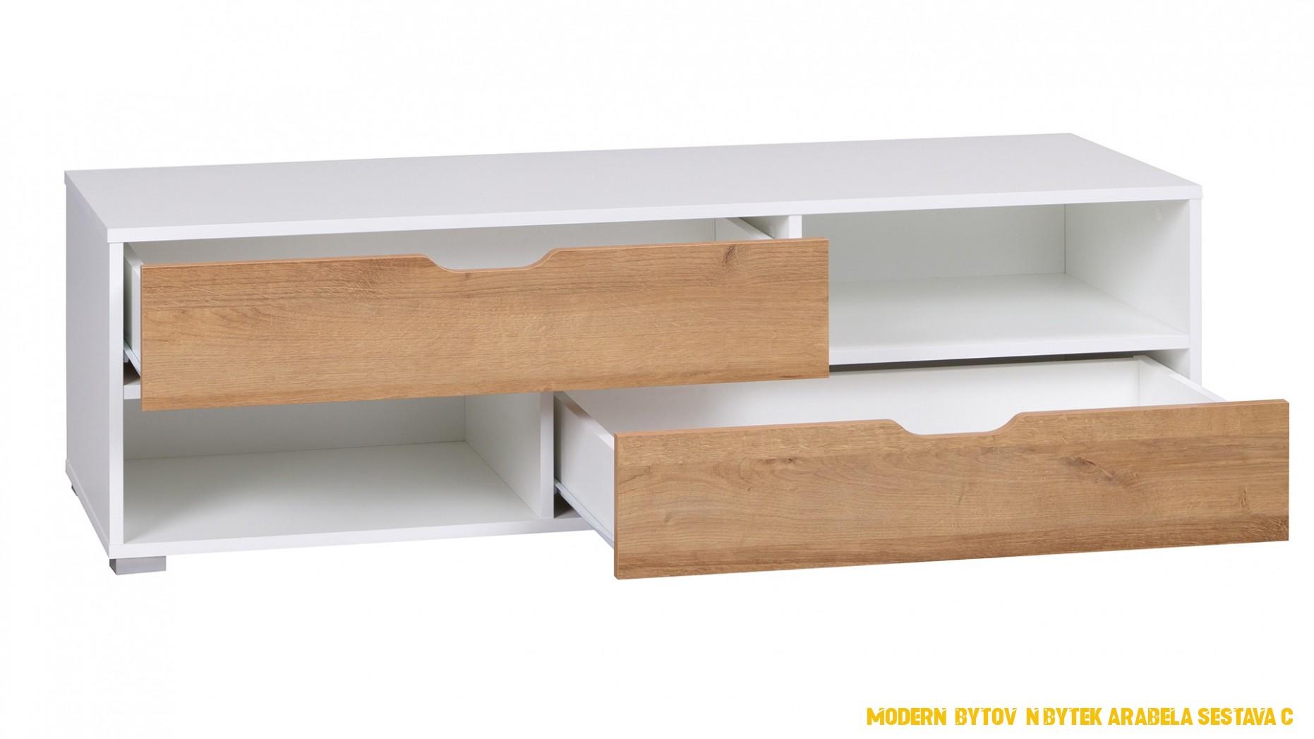 TV stolek Arabela, bílá/dub zlatý