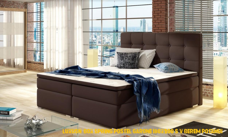 Luxusní boxová pružina postel Garone 180×200 s výběrem potahu!