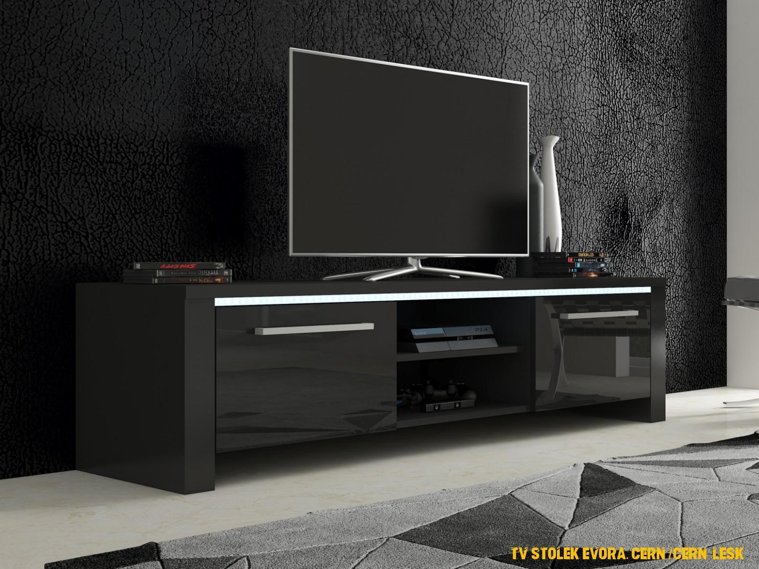TV stolek Evora, cerná / cerný lesk