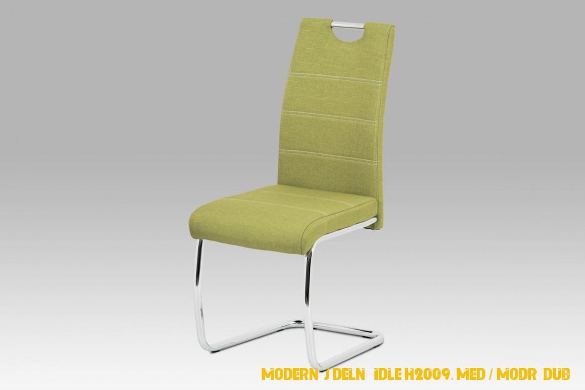 Moderní jídelní židle H2009, med / modrý dub