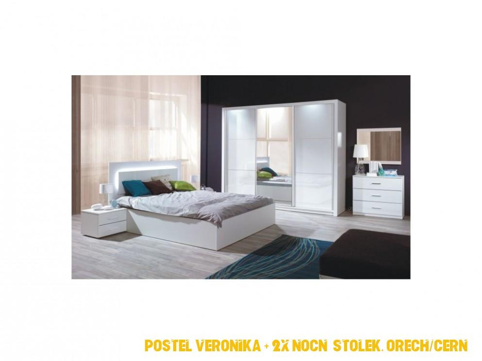 Ložnicový komplet (skříň+postel 4x4+4 x noční stolek), bílá ...