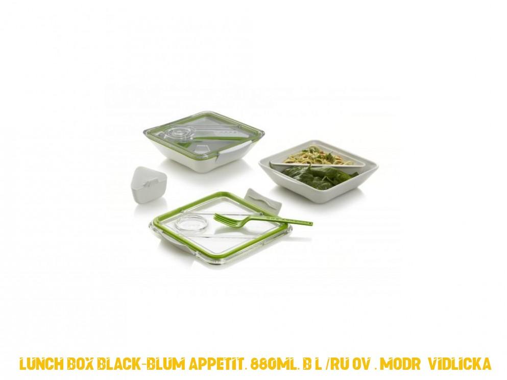 Oběd BLACK-BLUM Appetit, 880ml, bílý / růžový, modrá vidlicka