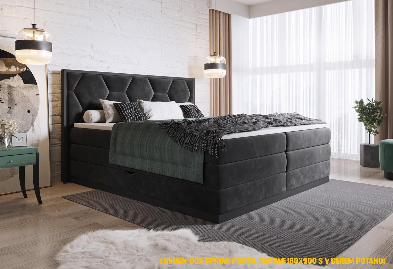 Luxusní box spring postel Garone 4x4 s výběrem potahu!