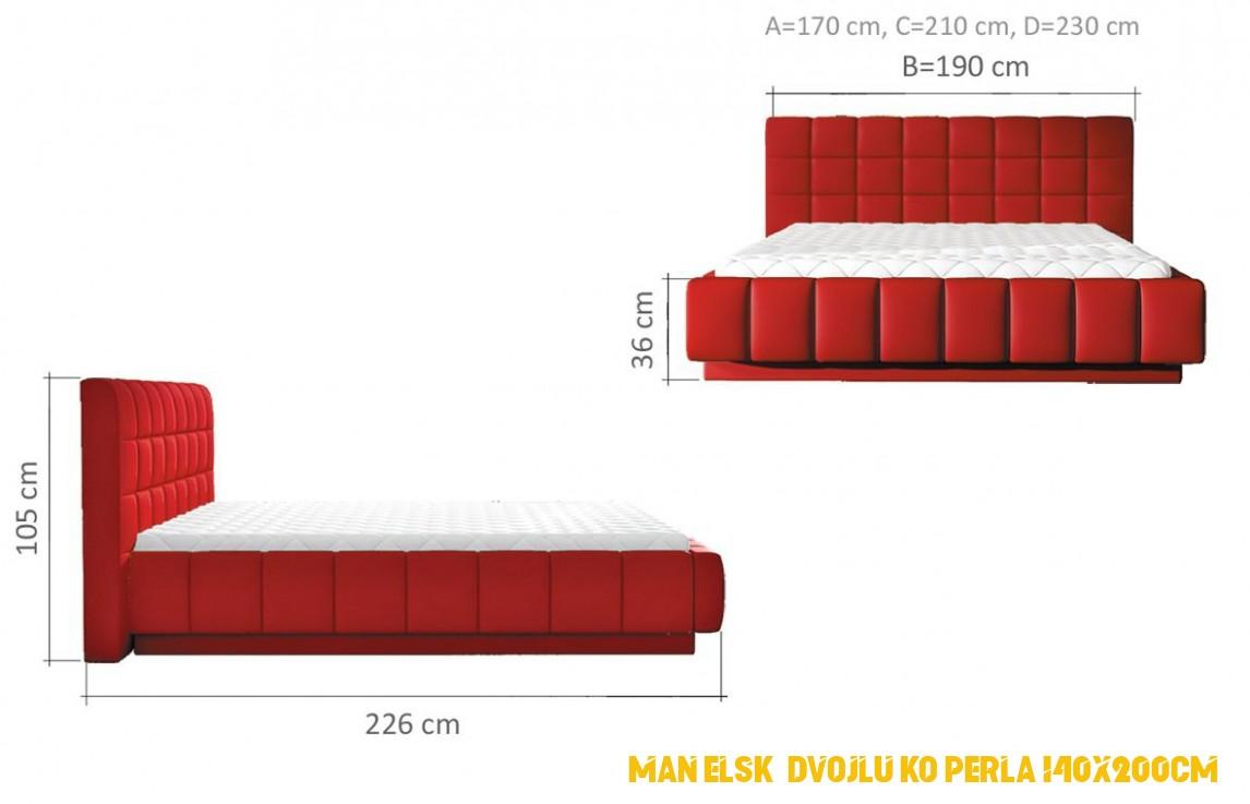 Manželské dvojlůžko Perla 4x4cm