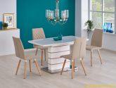 Moderní jídelní stůl HANK s funkcí rozkladu v kombinaci barev bílá a dub  zlatý