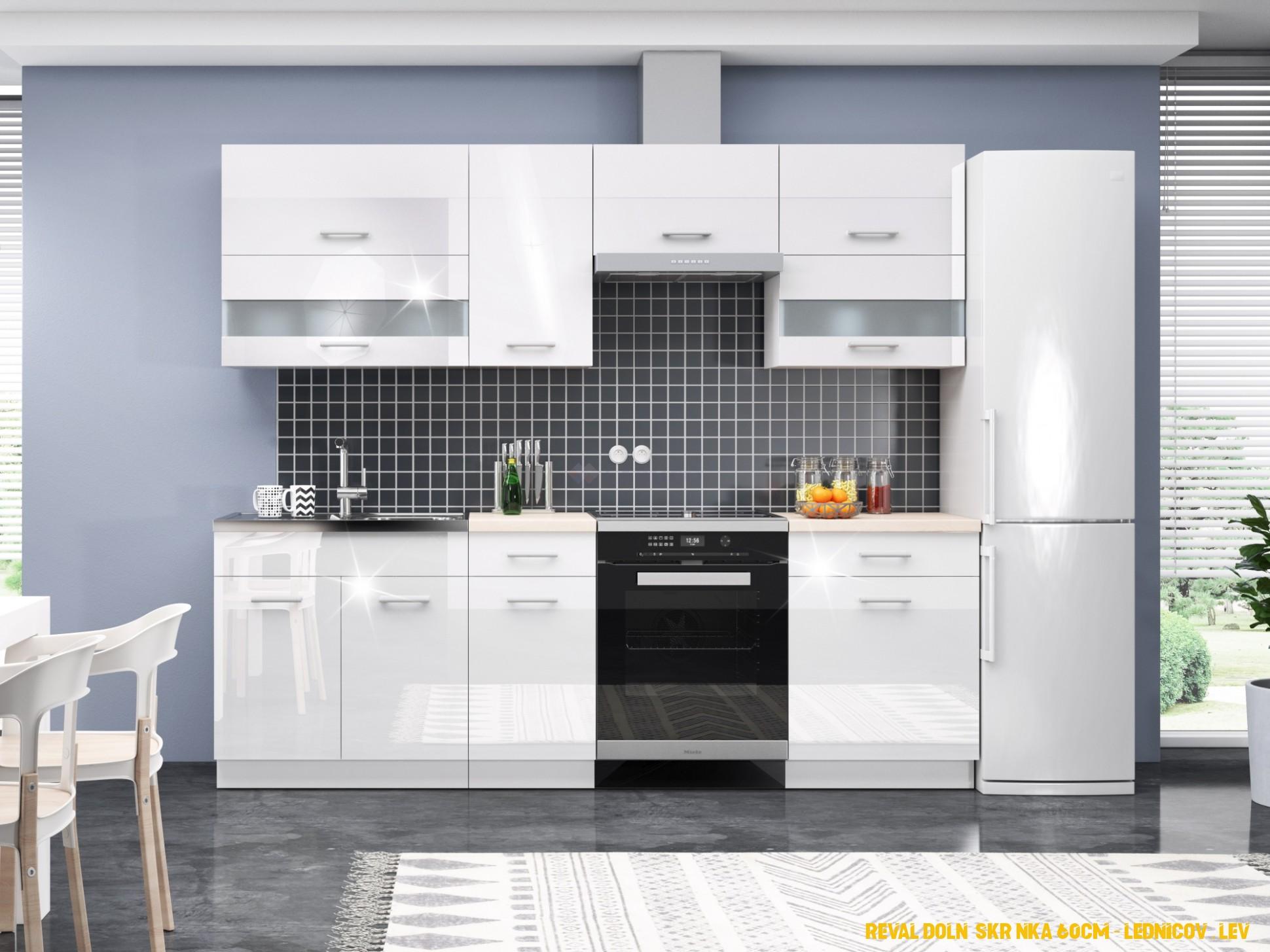 Moderní kuchyně INGURI 4/4 cm v barvě korpusu bílý mat a dvířka bílý  lesk
