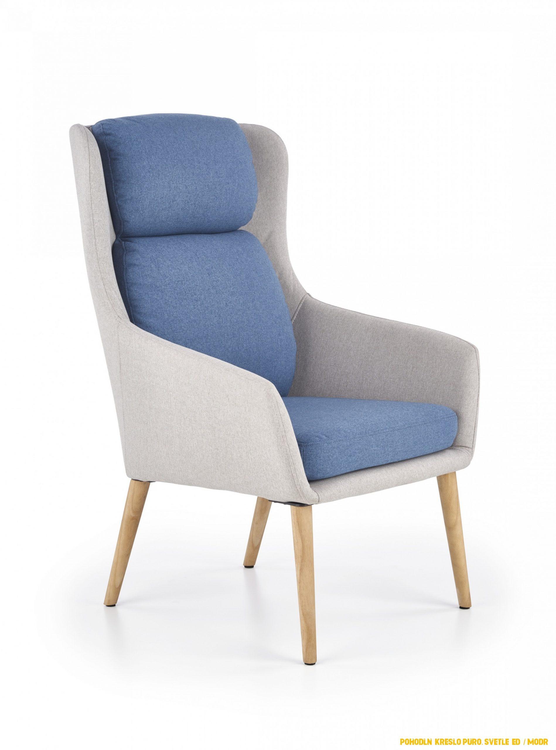 Pohodlné kreslo Puro, svetlo šedá / modrá