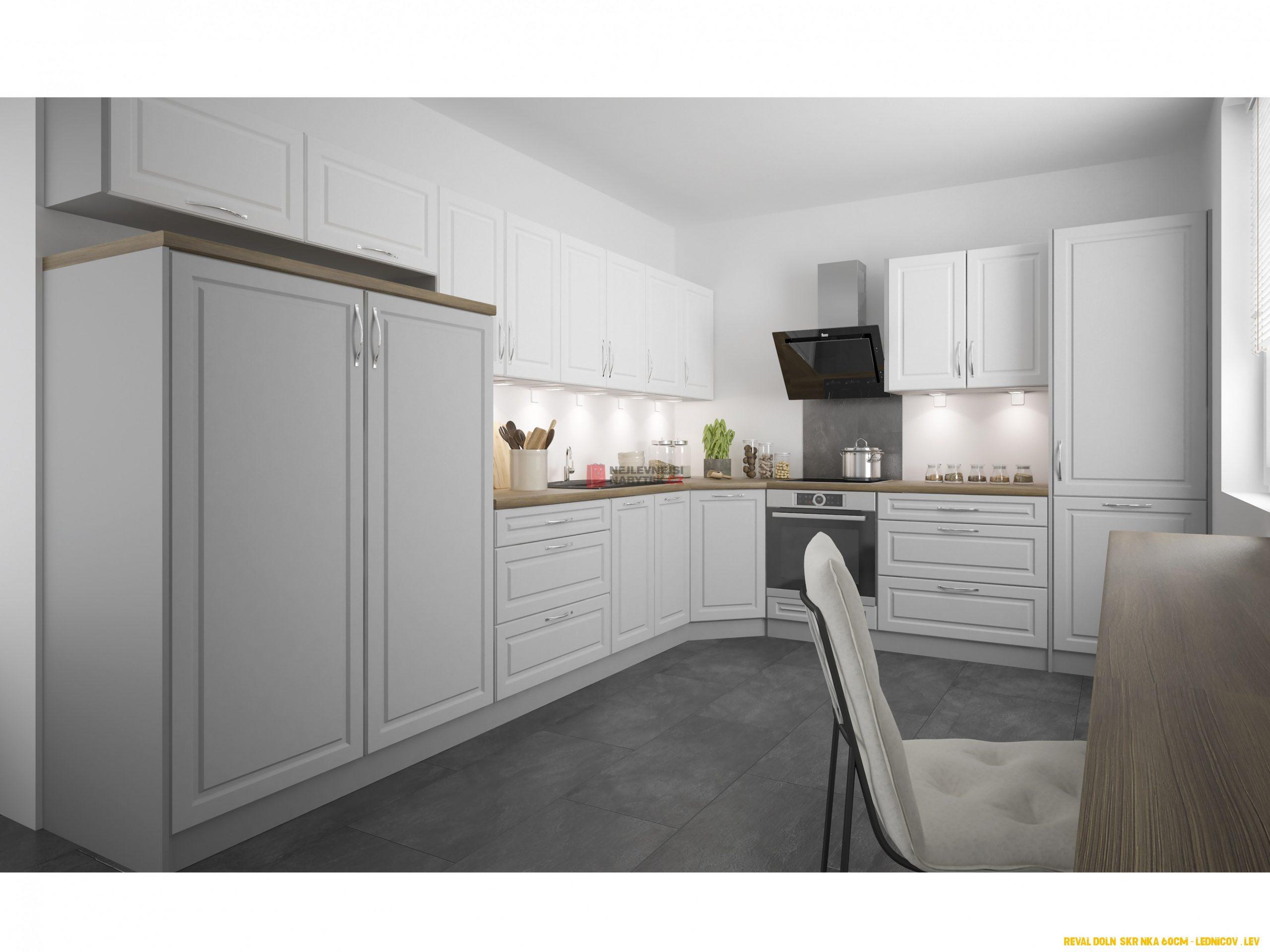 Rohová kuchyně CHANIE 4/4 cm, korpus grey, dvířka light grey stone +  white
