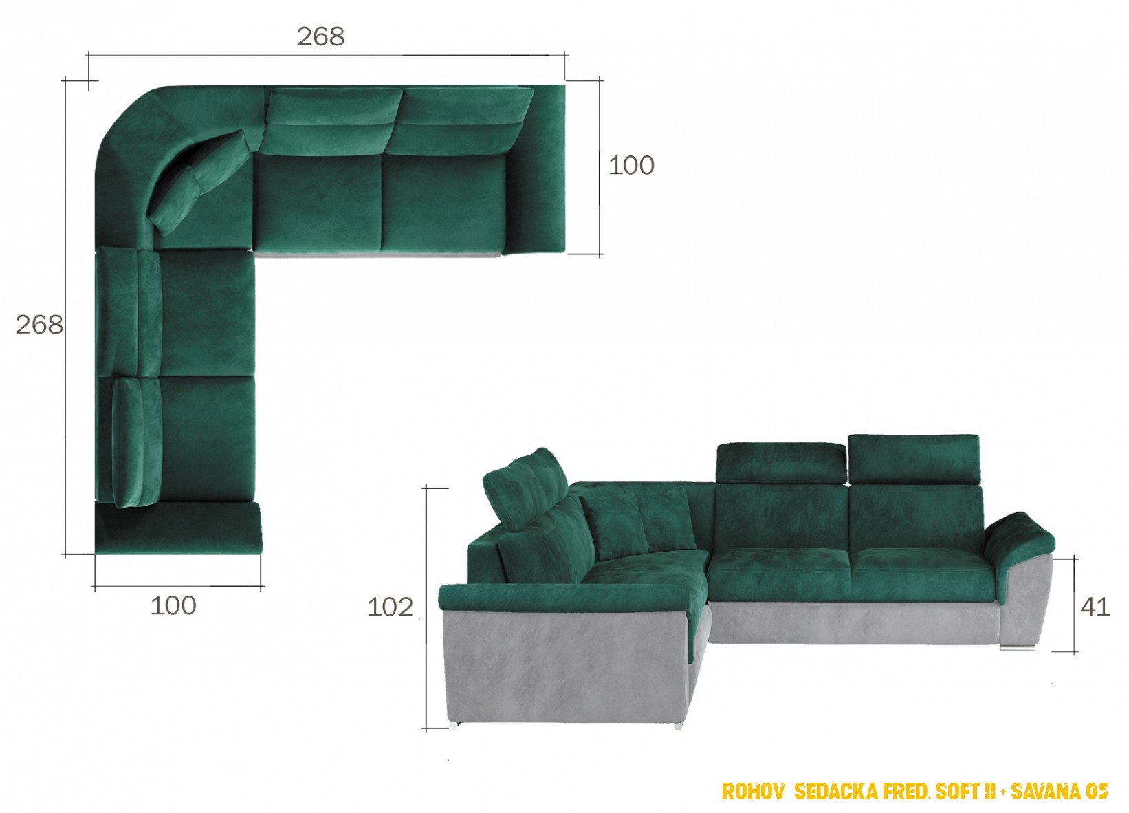 Rohová sedačka Fred, Soft 4 + Savana 4