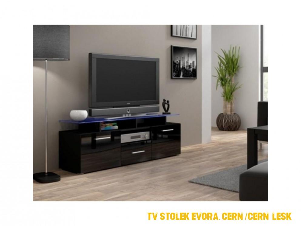 Televizní stolek Evora mini RTV - černá /černý lesk - SENZA NÁBYTEK