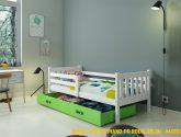 Detská postel Piano, prírodní / zelená + MATRACE