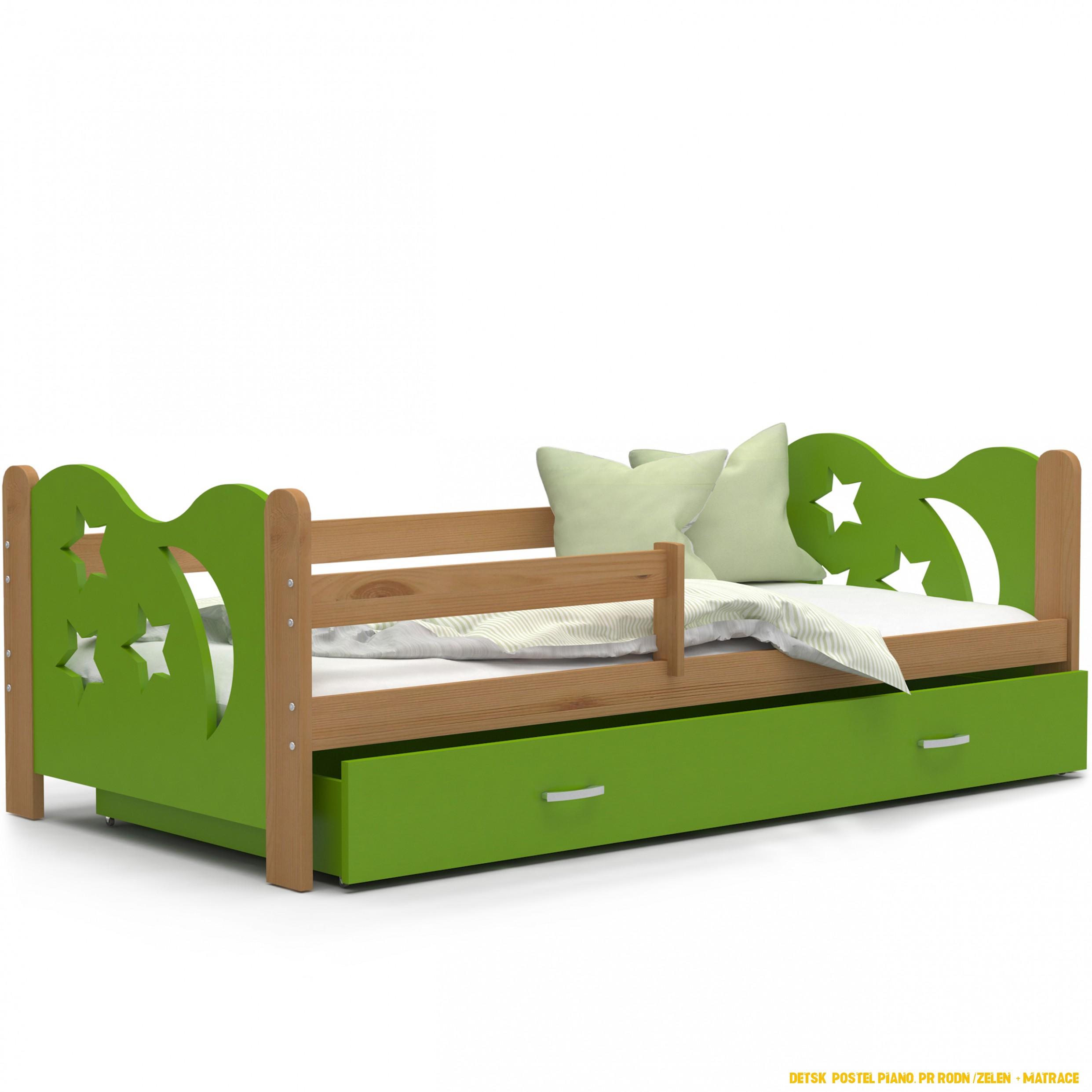 Detská posteľ so zásuvkou Mikoláš - 4x4 cm - zelená / jelša - mesiac a  hviezdičky
